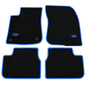 4 tapis sol moquette logo bleu sur mesure peugeot 208 intuitive access ligne ebay. Black Bedroom Furniture Sets. Home Design Ideas
