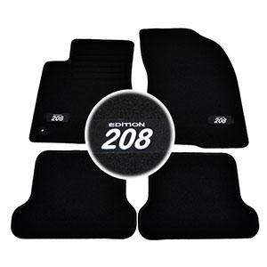 4 tapis sol moquette logo blanc sur mesure peugeot 208 feline gti allure active. Black Bedroom Furniture Sets. Home Design Ideas
